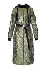 Load image into Gallery viewer, Hooded Belted Zip Coat - Olive