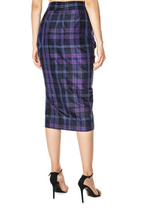 Plaid Ruched Skirt