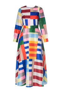 Geometric Colorblock Dress