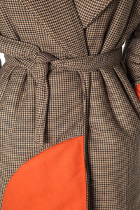 Houndstooth Wrap Coat