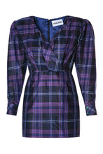 Load image into Gallery viewer, Plaid Wrap Bodice Dress