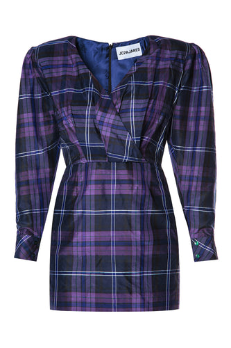 Plaid Wrap Bodice Dress