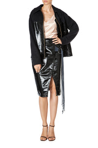 Vegan Leather Zip Front Jacket
