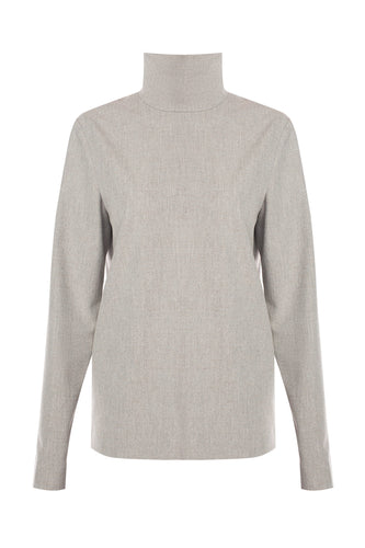 High Neck Wool Tunic - Beige