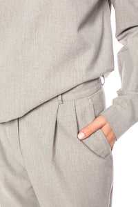 Pleated Wool Trousers - Beige