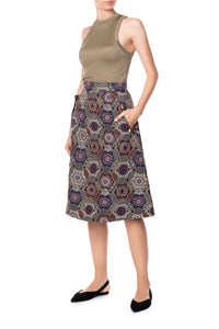 A Line Midi Skirt - Purple