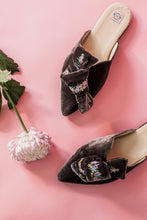 Load image into Gallery viewer, Grey Velvet Bow Mules