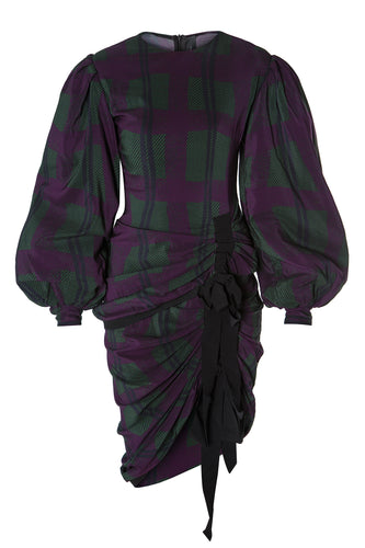 Plaid Ruched Dress