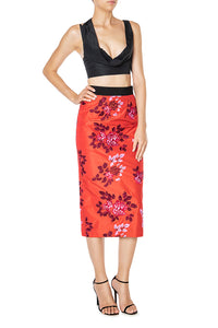 Slim Embroidered Skirt