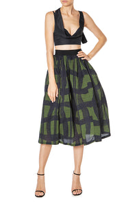 Warped Plaid Skirt - Green
