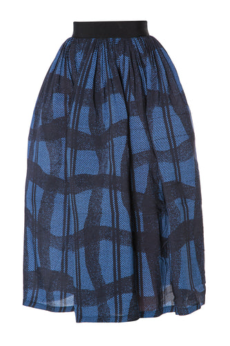 Warped Plaid Skirt - Blue