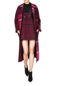 Oversized Collar Plaid Coat