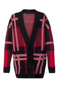 Oversized Plaid Cardigan - Black and Red