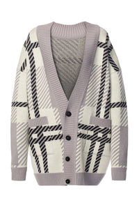 Oversized Plaid Cardigan - Ivory and Grey
