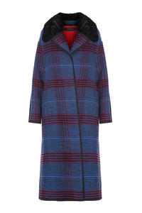 Fur Collar Plaid Coat