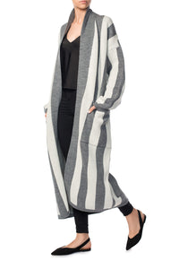 Striped Wool Robe Cardigan