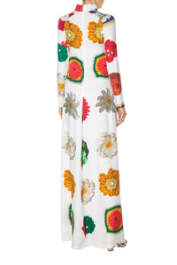 Flowers Print Mock Turtleneck Gown