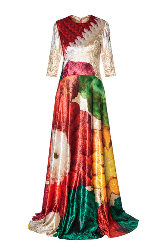 Velvet Floral Fit and Flare Gown