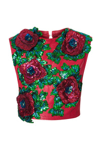 Sequin Floral Applique Leather Top