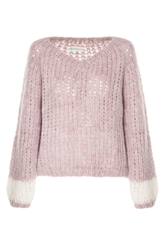 Open Cable V Neck Sweater