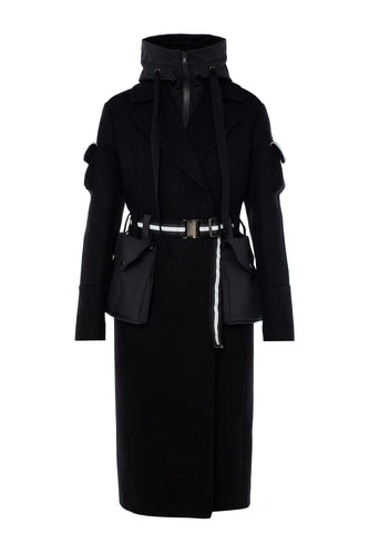 Wool Coat with Removable Hood - Black