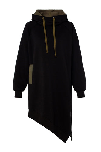 Asymmetric Zip Long Hoody - Black