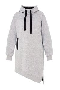 Asymmetric Zip Long Hoody - Grey