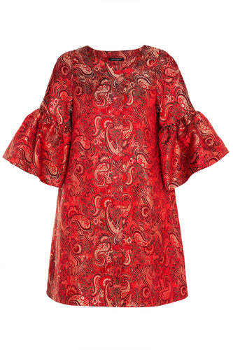 Paisley Ruffle Sleeve Shift Dress - Red