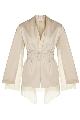 Shawl Collar Silk Layers Jacket