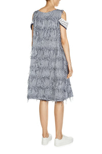 Fringe and Eyelet Trim Dress