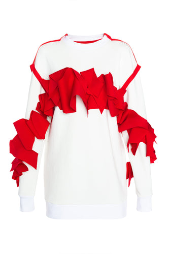 Ruffle Sweatshirt Dress