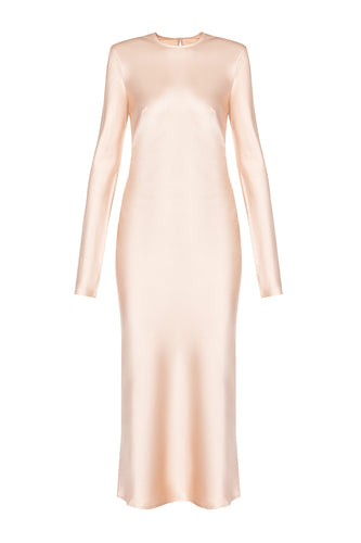 Satin Midi Dress - Blush