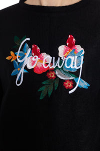 """Go Away"" Embroidered Wool Sweater"