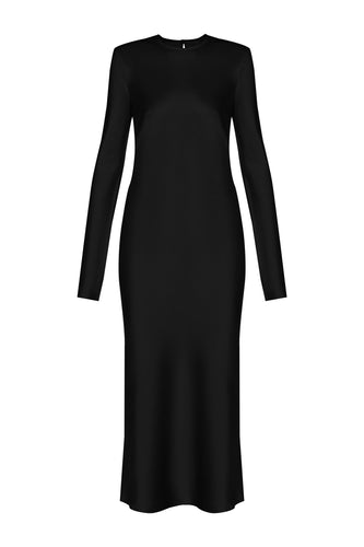 Satin Midi Dress - Black