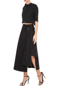 Side Buckle Asymmetric Skirt