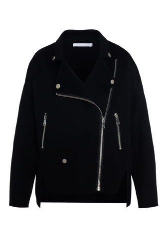Cashmere Wool Biker Jacket - Black