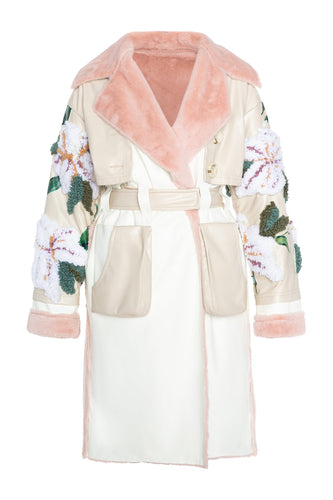 Embroidered Sleeve Trench Coat