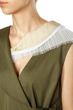 Load image into Gallery viewer, Asymmetric Tulle Trim Collar Dress