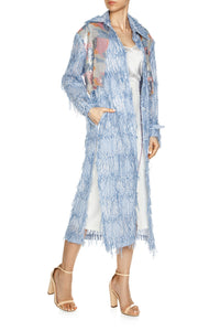 Sequin Yoke Fringe Trenchcoat