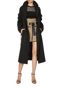 Removable Hood Coat - Black
