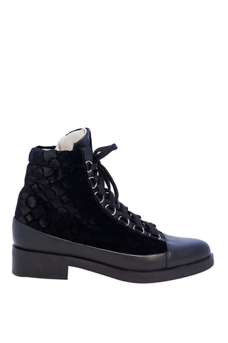 Lace Up Silk Velvet Boots - Black