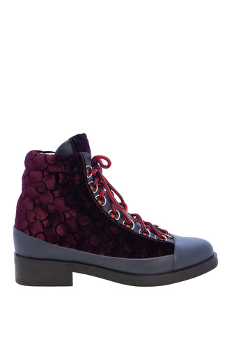 Lace Up Silk Velvet Boots - Burgundy