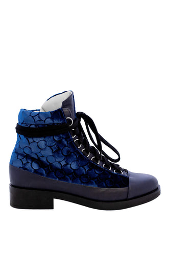 Lace Up Silk Velvet Boots - Blue