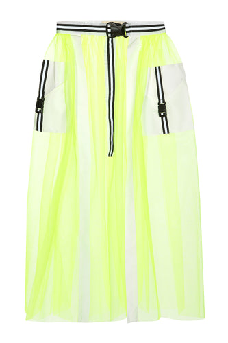 Tulle Cargo Pocket Skirt - Lime