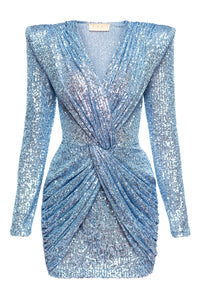 Jennifer Knot Waist Sequin Dress - Blue