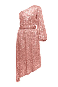 Veronica One Shoulder Sequin Dress - Pink