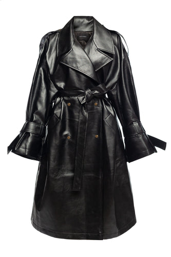 Eco Leather Trench Coat - Black