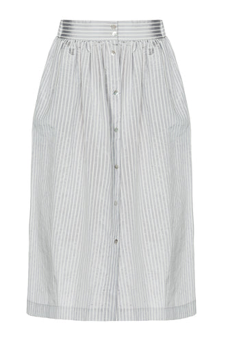 Button Front Silk Blend Skirt - Grey