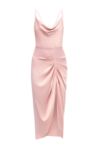 Ava Draped Satin X Back Dress - Pink