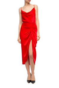 Ava Draped Satin X Back Dress - Red